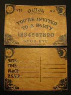 Ouija Board Invitations. If i get married, i'm having ouija board invites, i dont care what mr. future hubs says!