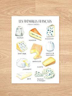 Acuarela arte de cocina de quesos franceses - cartel acuarela cocina de quesos