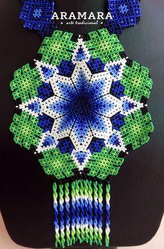 Mexican Huichol Beaded Star and Peyote Necklace by Aramara on Etsy Beading Tutorials, Beading Patterns, Bead Art, Beaded Embroidery, Perler Beads, Seed Beads, Cross Stitch Patterns, Mandala, Rabbits