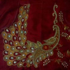 Peacock Blouse Designs, Bridal Blouse Designs, Peacock Design, Saree Blouse Designs, Blouse Patterns, Blouse Styles, Creative Embroidery, Embroidery Fashion, Embroidery Designs
