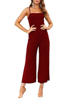 f343ce4377071  14 Amazon.com  Minipeach Women s Solid Color Backless Sleeveless Wide Long  Pants Jumpsuit Rompers  Clothing