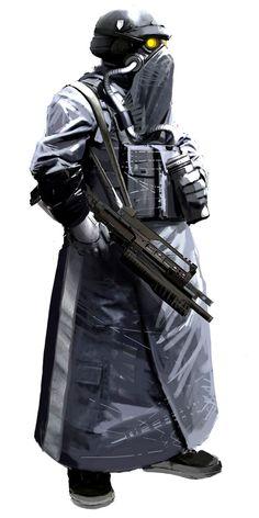 Helghast trooper, Killzone 2 concept art by Xavier Marquis