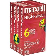 MAXELL T-120 High Grade Blank VHS Tapes 4 pack NEW Sealed 6 Hours #Maxell
