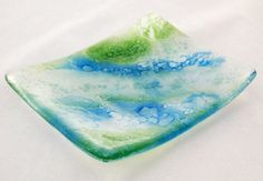 Blue and green bubbles fused glass dish by jestersbaubles on Etsy