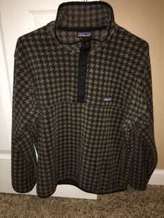 Rare Vintage Patagonia Snap T Pullover - Size Large - 90's Houndstooth Pattern #Patagonia #FleeceJacket