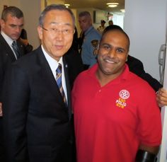 Canadian Polio Survivor Ramesh Ferris with the Secretary General of the   United Nations Ban Ki-Moon at the              United Nations General Assembly in     New York City!