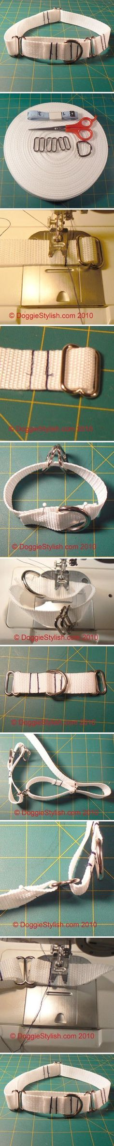 how to make Adjustable Martingable dog collar step by step DIY tutorial instructions / How To Instructions