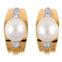 1stdibs - DAVID WEBB Diamond Pearl Yellow Gold Platinum Earrings explore items from 1,700  global dealers at 1stdibs.com