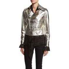 Roberto Cavalli Metallic Leather Biker Jacket ($4,205) ❤ liked on Polyvore featuring outerwear, jackets, silver, cropped motorcycle jacket, cropped moto jacket, rider leather jacket, cropped jacket and leather biker jacket
