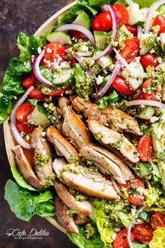 Move over boring salads...this Pesto Grilled Chicken Avocado Salad will become your new favourite salad, using a pesto dressing to double as a marinade!