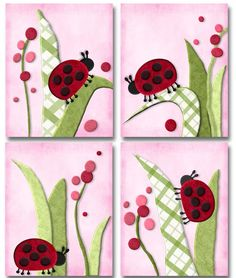 Migi Ladybugs Set of 4 nursery bedding art paper prints. $20.00, via Etsy.