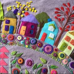 Marvelous Crewel Embroidery Long Short Soft Shading In Colors Ideas. Enchanting Crewel Embroidery Long Short Soft Shading In Colors Ideas. Motifs Applique Laine, Wool Applique Quilts, Wool Applique Patterns, Crewel Embroidery Kits, Wool Quilts, Felt Applique, Embroidery Patterns, Applique Ideas, Embroidery Supplies