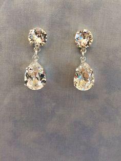 Silver or gold plated earrings clear Swarovski Crystal - wedding earrings, bridal earrings, bridesmaid earrings