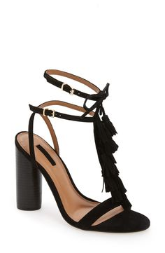 Topshop 'Ripple' Tasseled Round Heel Sandal (Women) available at #Nordstrom