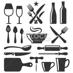 Restaurant emblem and Kitchen Appliances black & white icon set Royalty Free Stock Vector Art Illustration Free Vector Art, Vector Icons, Bottomless Mimosas, Bloody Mary Bar, Food Icons, Chicken And Waffles, Posca, Icon Set, Restaurant