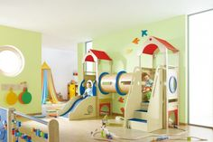 Gemino+ Activity Play Lofts by HABA. Design unique and innovative children's play areas where children can play hide & seek, read, pretend to go shopping, or have a mini adventure. Daycare Rooms, Home Daycare, Indoor Playroom, Indoor Play Areas, Kids Indoor Playground, Childrens Rugs, Kids Play Area, Kids Room Design, Kid Spaces
