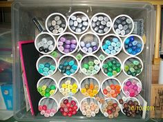 DIY Marker Storage - these are PVC pipes glued in a plastic bin but you could use paper tubes also. Marker Storage, Craft Storage, Arts And Crafts, Paper Crafts, Diy Crafts, Plastic Bins, Copics, Copic Markers, Cardmaking
