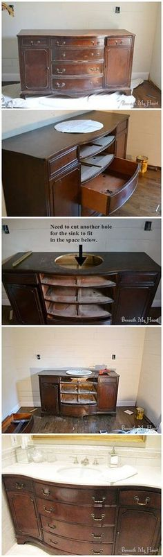 Up-cycle any old dresser into a gorgeous Bathroom Vanity!