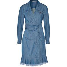 Diane von Furstenberg Damen Aya Lace-trimmed Denim Wrap Dress Mid... ($245) ❤ liked on Polyvore featuring dresses, diane von furstenberg, diane von furstenberg dress, wrap dress, lace trim dress and blue dress