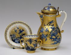 Circa 1715-1735 Meissen - Germany Material: Porcelain and silver Technique: Underglaze painting and gilding