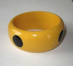 Vintage Bakelite Yellow Bangle Bracelet  w/4 black by JanesVintage, on etsy