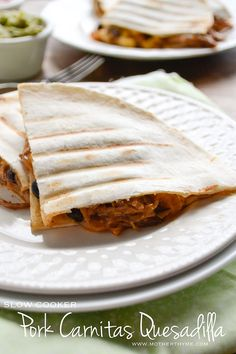 Slow Cooker Pork Carnitas Quesadilla from @Jennifer | Mother Thyme