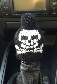 Skull and Crossbones Gear Knob Beanie Hat by NutkinsKnits on Etsy