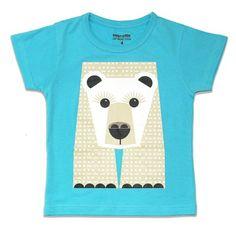 T-shirt enfant Coq en Pâte en coton bio avec motif ours blanc illustré par Mibo #tshirt #enfant #gorille  Kids t-shirt 100% organic cotton with white bear designed by Mibo for Coq en Pâte