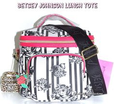 Betsey Johnson Cargo Lunch Tote Insulated Bag Floral Black White Pink NWT #BetseyJohnson #ShoulderBagCargoLunchtote