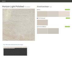 Horizon Light Polished. Porcelain. Type. Americanolean. Behr. PPG Pittsburgh. Sherwin Williams.  Click the gray Visit button to see the matching paint names.