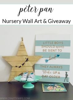 Create a sweet and sentimental piece of art for a little boy's room with this famous quote from J.M. Barrie's Peter Pan. Perfect for a Peter Pan Nursery!