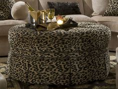Add some spice to your living space with this racy, animal-print cocktail ottoman. A perfect addition to liven up any room in the home! Animal Print Furniture, Animal Print Decor, Animal Prints, Sofa Furniture, Furniture Makeover, Furniture Styles, Furniture Ideas, New Living Room, Living Room Decor