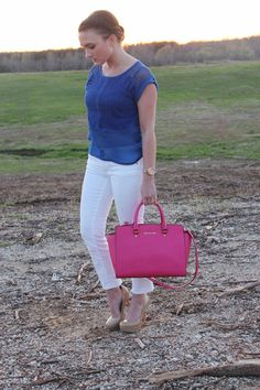 Berry Stylish! The Style Lineup - Date outfit, Spring Outfit, Casual Friday Outfit, Royal Blue and Pink, Royal Blue Top, Pink Purse, White Pants Outfit, Michael Kors Purse
