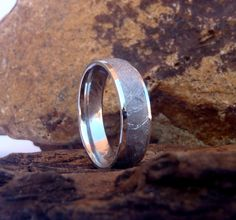 Cobalt Chrome 7mm Domed Men's Band with 5mm Gibeon Meteorite Inlay by SednLizBiz on Etsy