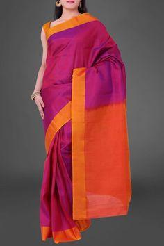 Fuchsia & Orange Kanjeevaram Silk Saree