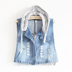 girlversion of the code to handle the old denim vest zipper short cowboy vest sleeveless jacket with Cap
