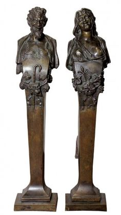 Pair of Renaissance style patinated bronze figural andirons, designed by Ernest Coxhead (1863–1933) for Herbst residence, 1899.    http://www.liveauctioneers.com/item/15782122_pair-of-renaissance-style-patinated-bronze-figural-andi