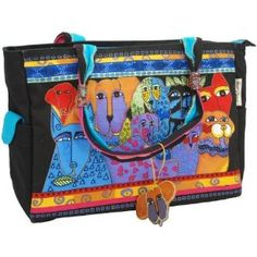 Laurel Burch Medium Tote with Zipper Top, Canine Clan Cool Style, My Style, Colorful Artwork, Laurel Burch, Medium Tote, Sewing Stores, Crazy Cat Lady, Sewing Crafts, Diaper Bag