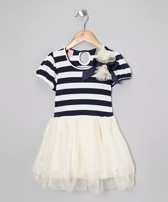 Navy & White Stripe Tulle Tunic - Infant, Toddler & Girls by Adorable Essentials