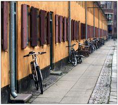 Street, shutters, bikes in Nyboder, Copenhagen.