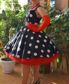 eb067de97988 Платья в стиле стиляг (61 фото)  на выпускной, с пышной юбкой, в горошек,  подъюбник, детские
