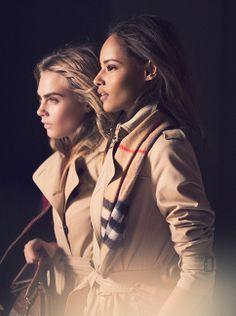 Behind the camera of Mario Testino - Cara and Malaika in iconic Burberry trench coats