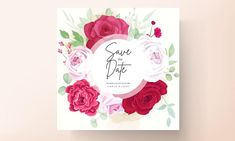 Beautiful Wedding Invitations, Wedding Invitation Cards, Blooming Rose, Peony Flower, Save The Date, Peonies, Floral, Vector Free, Wedding Flowers