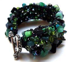 Bracelet Green Emerald Ilse Cuff - original lapisbeach hand knit beaded bracelet…
