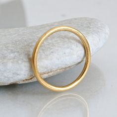 18k gold wedding ring 1.5mm gold halo ring solid by ChristinaEcco
