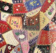 Detail of crazy quilt made by Edna Force Davis, Fairfax county, Virginia, 1897