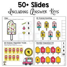 Counting made fun with the adorable and friendly Popsicle in this exciting Preschool Math for Google Slides™! Math Literacy, Kindergarten Math, Kindergarten Activities, Subtraction Activities, Math Games, Learning Numbers Preschool, Summer Activities For Kids, Google Classroom, Language Arts