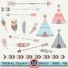 "Tribal Clipart ""TRIBAL TEEPEE TENTS ""clip art pack arrows, borders,Tribal Feathers,Aztec arrow arrow,teepee clip art,Instant Download Trb001"