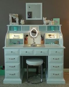 Roll top desk makeover By Chelsea Lloyd Vanity Makeup Station Upcycling DIY Desk White & Mint HomeGoods Stool Painted Laminate Illuminated Mirror Girly Spare Bedroom Home Goods, Spare Bedroom, Desk Makeover, Home, Vanity, Bedroom Decor, Home Diy, Furniture Makeover, Vanity Room