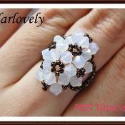 Swarovski 4 White Flower Ring - via @Craftsy